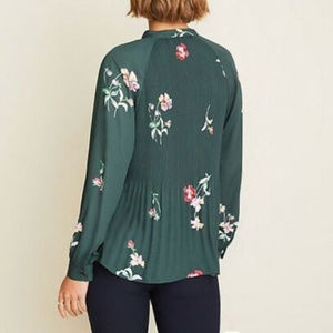 Ann Taylor Tops - Loft Floral Pleated Tie Neck Blouse